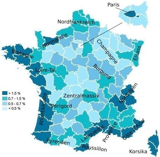 Frankreich Departements Karte.Beliebte Reiseziele Für Den Frankreich Urlaub