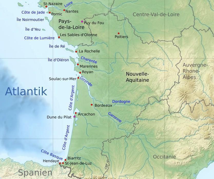 43a7499754 Karte der Atlantikküste in Frankreich mit einigen Sehenswürdigkeiten