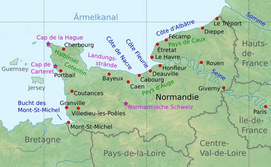 Frankreich Karte Stadte.Normandie Urlaub Am Meer