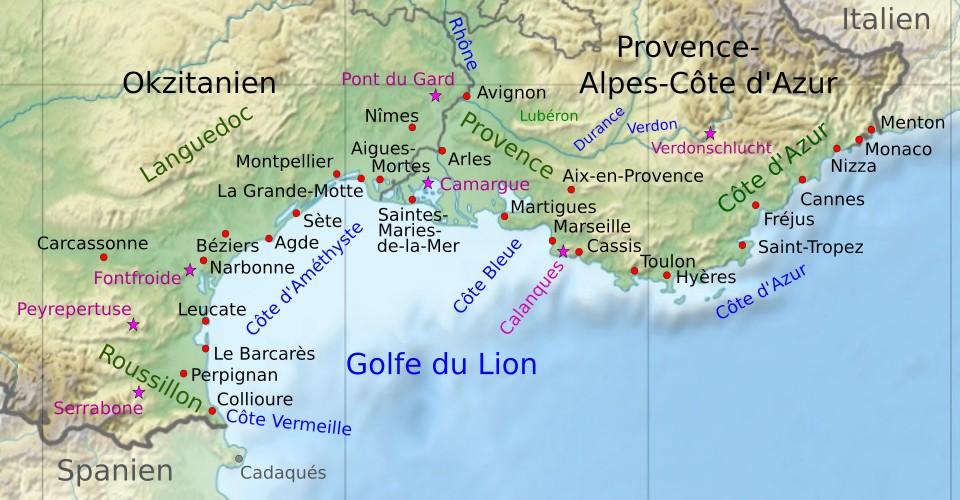 Frankreich Karte Stadte.Sudfrankreich Urlaub Am Meer